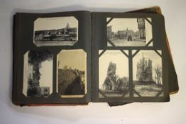 French postcard album (distressed), containing over 340 postcards, mainly of WWI interest
