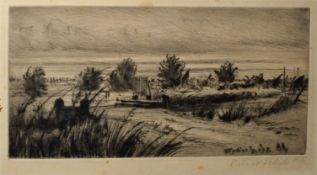 Catherine Maud Nichols, RE (1848-1923), A marshland scene, black and white etching, signed in pencil