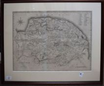 J Cary - engraved map of Norfolk, 40 x 51cm