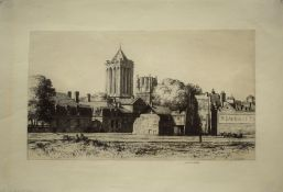 "W A Norbeth (20th century), ""The Towers of St Dean, Caen"", black and white etching, signed in pencil"
