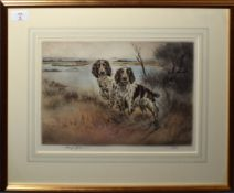 Henry Wilkinson (1921-2011), Two Setters in a landscape, coloured etching, signed and numbered 172/