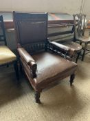 LARGE 19TH CENTURY UPHOLSTERED LEATHER HALL CHAIR WITH CARVED DECORATION TO BACK AND SPINDLE