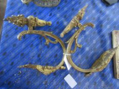 PAIR OF ORNATE GILT PAINTED METAL SCONCES