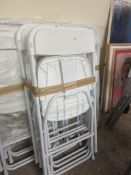 SET OF FIVE METAL FRAMED FOLDING PLASTIC CHAIRS, EACH APPROX 106CM