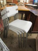 SET OF FOUR METAL FRAMED STACKING PLASTIC CHAIRS, EACH APPROX 77CM