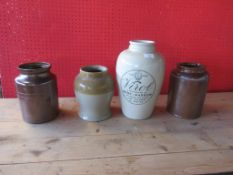 "FOUR VARIOUS SALT GLAZED JARS INCLUDING PRINTED VIROL BONE MARROW ""AN IDEAL FAT FOOT FOR CHILDREN"