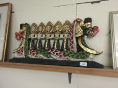 PAINTED HAND CARVED RELIEF DEPICTING DANCING MAIDENS IN A DRAGON BOAT, LENGTH APPROX 66CM