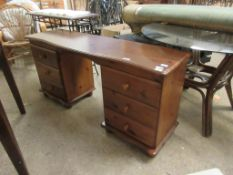 STAINED PINE FRAMED TWIN PEDESTAL DRESSING TABLE, EACH PEDESTAL FITTED WITH THREE DRAWERS WITH