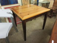 PINE SQUARE TOP KITCHEN TABLE ON TAPERING SQUARE LEGS