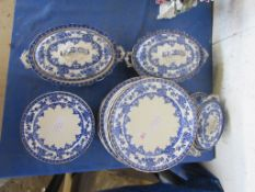 QUANTITY OF BLUE AND WHITE TRANSFER PRINTED PLATES AND TUREENS, ALL WATFORD MARKED