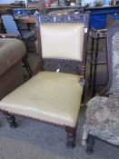 CARVED 19TH CENTURY UPHOLSTERED LEATHER HALL CHAIR WITH SPINDLE TURNED AND CARVED DECORATION, HEIGHT