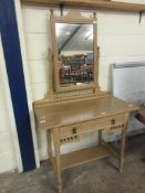 RUSTIC PINE DRESSING MIRROR BACKED DRESSING TABLE, LENGTH APPROX 1M