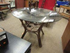 GLASS TOP CIRCULAR BAMBOO CONSERVATORY TABLE