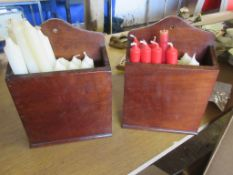 TWO EARLY 20TH CENTURY MAHOGANY CANDLE BOXES, TOGETHER WITH QUANTITY OF CANDLES