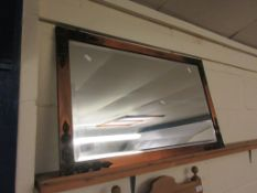 EARLY 19TH CENTURY METAL FRAMED MIRROR WITH MOULDED DETAIL TO FRAME, TOTAL SIZE 75CM X 46CM