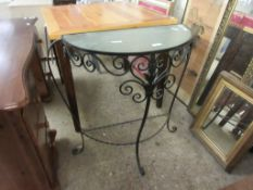 METAL GLASS TOP DEMI-LUNE SIDE TABLE