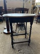 OVAL OCCASIONAL TABLE ON BARLEY TWIST LEGS, HEIGHT APPROX 73CM