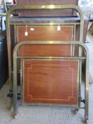 PAIR OF ART DECO METAL SINGLE BED ENDS, EACH INSET WITH A GEOMETRIC CROSS BANDED DECORATION, WIDTH