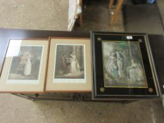 """TWO FRAMED """"CRIES OF LONDON"""" PRINTS, TOGETHER WITH A FURTHER FRAMED 19TH CENTURY COLOUR PRINT,"""