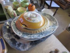 QUANTITY OF VARIOUS TRANSFER PRINTED MEAT PLATES AND A SMALL TUREEN, LARGEST PLATE APPROX 45CM