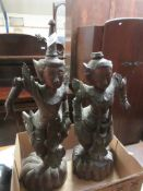 PAIR OF CARVED ORIENTAL FIGURES (ONE A/F), TOTAL HEIGHT LARGEST APPROX 55CM