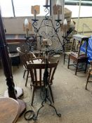 WROUGHT IRON LAMP STAND RAISED ON TRIPOD LEGS WITH FIVE CANDLEHOLDERS, HEIGHT APPROX 56CM