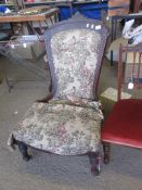 UPHOLSTERED VICTORIAN NURSING CHAIR (A/F), HEIGHT APPROX 93CM