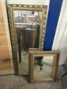 TWO VARIOUS GILT FRAMED MIRRORS, LARGEST APPROX 110 X 39CM