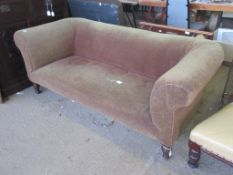 TWO-SEATER CHESTERFIELD TYPE SOFA, LENGTH APPROX 1.86M, RAISED ON TURNED MAHOGANY FEET