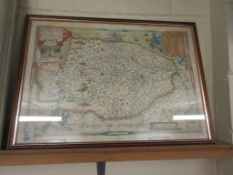 FRAMED REPRODUCTION MAP OF NORFOLK