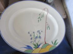 SELECTION OF VARIOUS DECO CHINA INCLUDING FIVE CLARICE CLIFF BIZARRE (BIARRITZ) PATTERN SAUCERS,