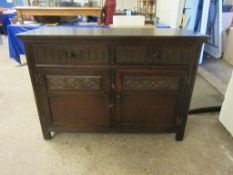 DARK WOOD FINISH CARVED SIDEBOARD, LENGTH APPROX 120CM