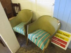 TWO WICKER LLOYD LOOM TYPE CHAIRS WITH STRIPED UPHOLSTERED SEATS