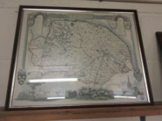 REPRODUCTION FRAMED MAP OF NORFOLK, DETAIL WITH ILLUSTRATIONS OF NORWICH CATHEDRAL, HOLKHAM HALL,