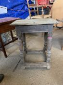 EARLY 19TH CENTURY JOINTED STOOL, HEIGHT APPROX 52CM
