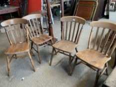 SET OF FOUR STICK BACK KITCHEN CHAIRS, HEIGHT APPROX 87CM