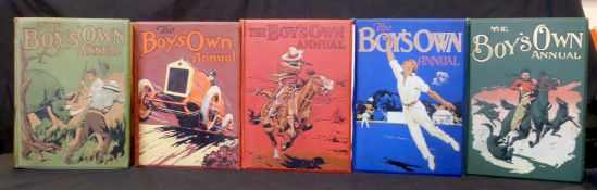 THE BOYS OWN ANNUAL, 1909-10, 1913-14, 1915-16, 1921-22, 1926-27, vols 32, 36, 38, 44, 49, 1st work,