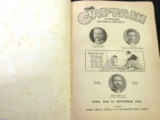 "THE CAPTAIN, A MAGAZINE FOR BOYS AND ""OLD BOYS"", 1908, vol 19, includes P G WODEHOUSE: A COMPLETE"