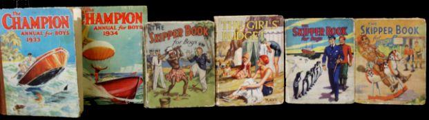 THE SKIPPER BOOK FOR BOYS, D C Thomson [1933, 1936, 1939], 3 vols, coloured frontis pieces, original