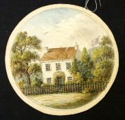 *Rare Victorian watercolour, intricately cut cobweb card with watercolour of a country cottage,