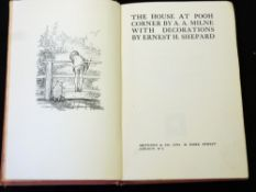 ALAN ALEXANDER MILNE: THE HOUSE AT POOH CORNER, ill E H Shepard, London, Methuen, 1928, 1st edition,