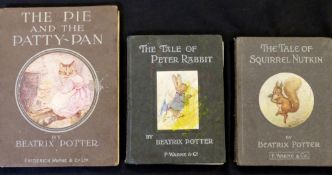 "BEATRIX POTTER: 3 titles: THE TALE OF PETER RABBIT, [1903], 4th printing, page 51 ""shed big"