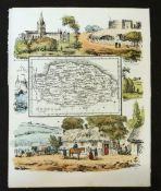 "REV SAMUEL CLARK ""REUBEN RAMBLE"": NORFOLK, small litho map [1845] bordered with hand coloured"