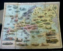 *W SPOONER (PUB): THE TRAVELLERS OR A TOUR THROUGH EUROPE, 1842, hand coloured litho map board