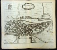 RUTGERUS HERMANNIDES: NORDOVICUM NORWICH, engraved plan, Rotterdam, 1685, approx 115 x 125mm