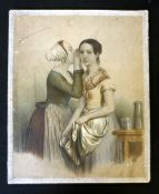*Box assorted Victorian stationery and wafers, original box with lrg pictorial coloured litho label