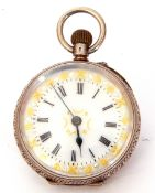 Last quarter of 19th/first quarter of 20th century Continental white metal cased fob watch with