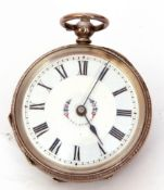 Last quarter of 19th century Continental white metal cased fob watch with key wind, having blued