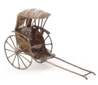 Chinese novelty white metal model of a rickshaw, 8cm long (a/f)