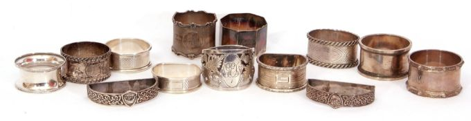 Mixed Lot: thirteen various hallmakred silver serviette rings, circular, oval, octagonal and D-